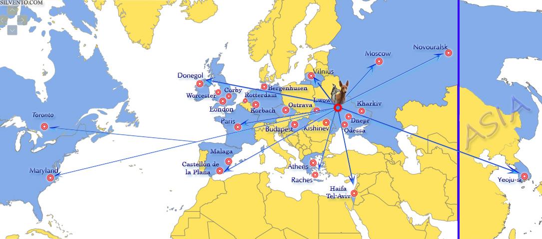 Левретки Сильвенто на карте мира